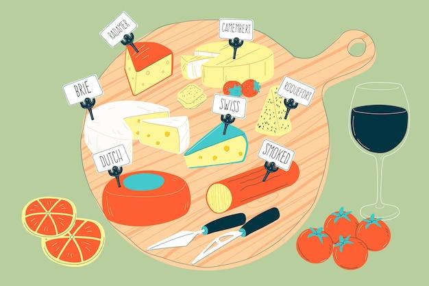 Deliziosi tipi di raccolta di formaggi