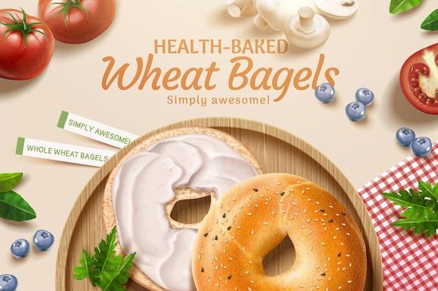 Deliziose pubblicità di bagel di grano con ripieni di crema che si trovano sullo sfondo del tavolo da pranzo in illustrazione 3d