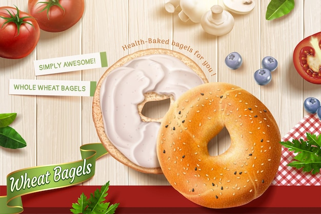 Deliziose pubblicità di bagel di grano con ripieni di crema che si trovano sullo sfondo di un tavolo di legno in illustrazione 3d