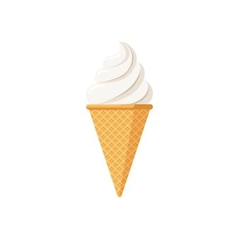 Delizioso gelato bianco nel cono di cialda. gelato contorto isolato gusto vaniglia su sfondo bianco. illustrazione vettoriale di design del prodotto in stile piatto carino