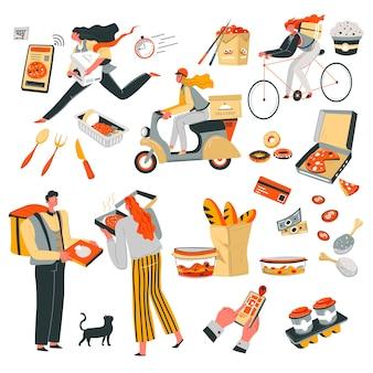 Consegna del cibo ordinato in tempo, fattorino e cliente. pizza e baguette, sushi e bevanda calda al caffè, noodles e lunchbox. corriere su ciclomotore o bicicletta, vettore di applicazione telefonica in stile piatto