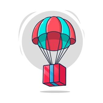 Scatola di consegna che vola con l'illustrazione dell'icona del paracadute
