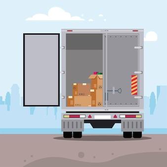 Scatole di consegna all'interno del camion