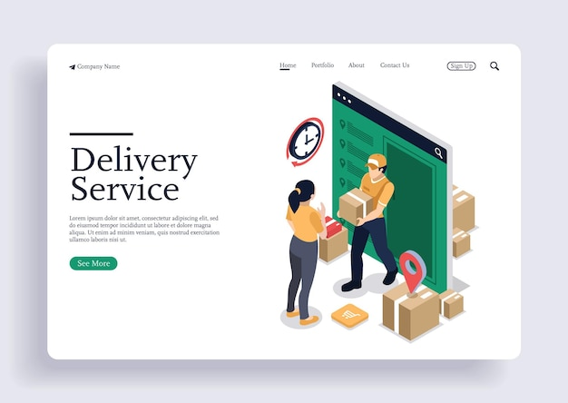 Un fattorino consegna il prodotto ordinato al concetto isometrico del cliente