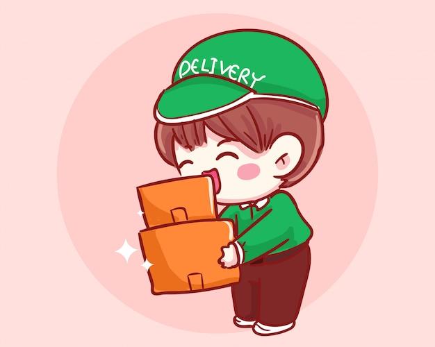 Illustrazione di arte del fumetto della scatola della tenuta del ragazzo di consegna