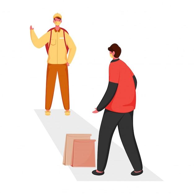 Ragazzo delle consegne mantenere la distanza dall'uomo del cliente con i sacchetti di carta su sfondo bianco per la consegna senza contatto.