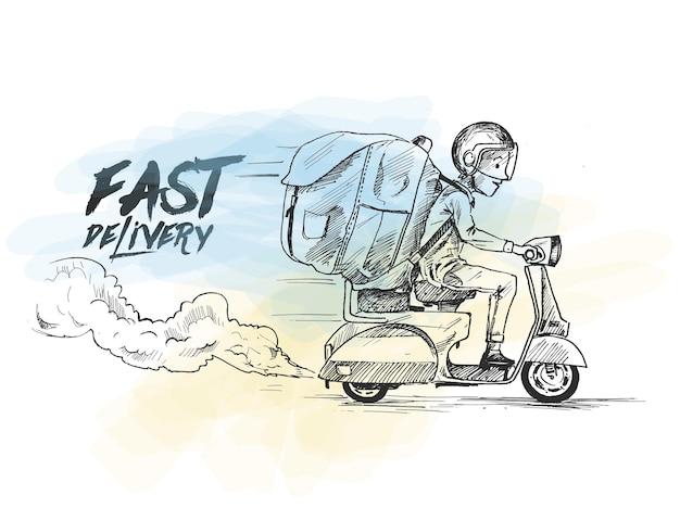 Servizio di consegna in scooter per il ragazzo delle consegne ordina la spedizione veloce