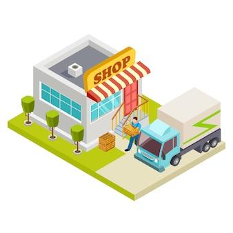 Consegna del pane ad un'illustrazione isometrica di vettore del piccolo negozio