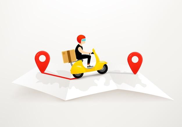 Consegna con il concetto di scooter