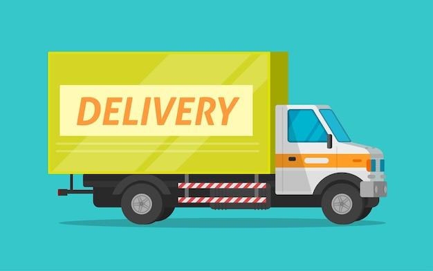 Illustrazione piana del fumetto di vettore di trasporto del furgone del carico di consegna