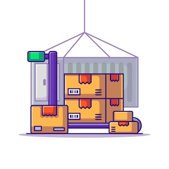 Consegna carrello scatole cargo logistica cartoon