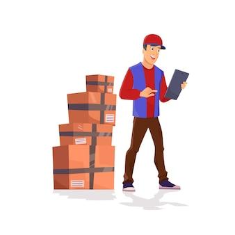 Concetto di consegna. uomo di carattere divertente con tablet isolato su bianco con scatole.