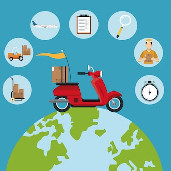 Icone stabilite del globo rosso del motociclo di concetto di consegna