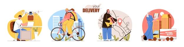 Set di scene del concetto di consegna il corriere consegna l'acquisto a casa del drone vola con il monitoraggio dei pacchi sulla logistica della mappa raccolta delle attività delle persone