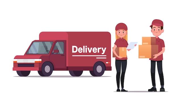 Corriere di consegna che trasporta pacchi con illustrazione del camion di consegna