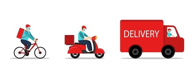 Corriere di consegna alla guida di biciclette, bici, auto in quarantena.