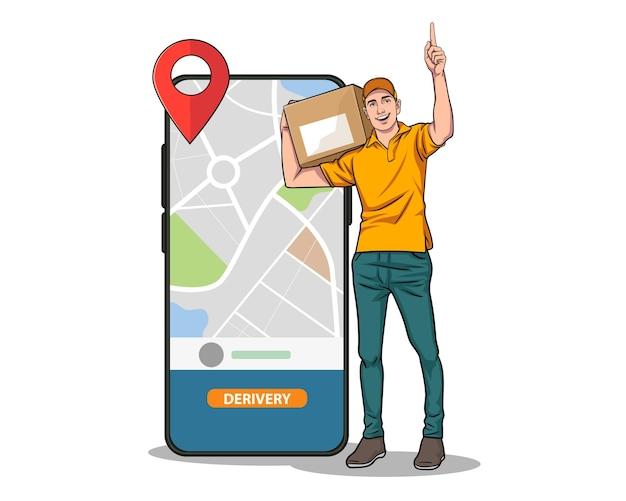Corriere di consegna che tiene in mano una scatola di pacchi e un telefono cellulare con navigatore in stile fumetto pop art