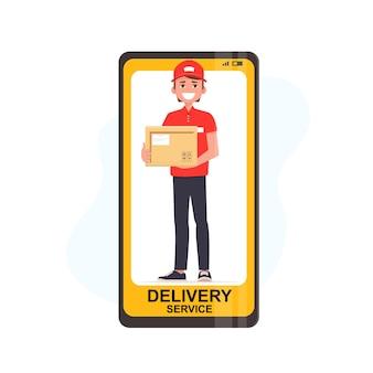 Uomo del corriere di consegna che tiene la scatola dei pacchi sullo schermo del telefono cellulare