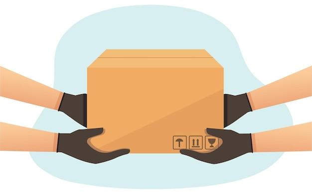 Corriere di consegna uomo con una scatola consegna della merce