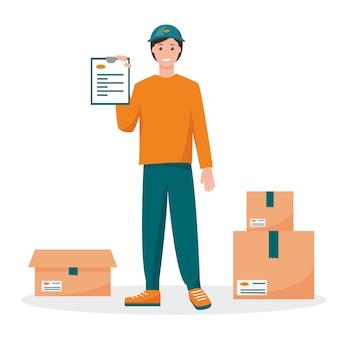 Corriere di consegna uomo con ordine e scatole di cartone.