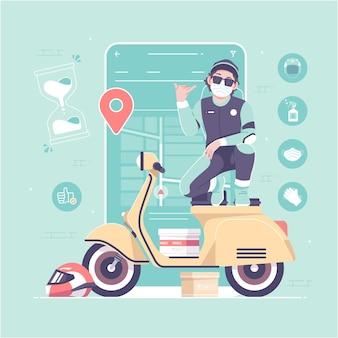Concetto di app mobile del corriere di consegna