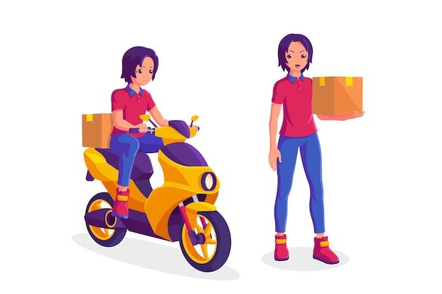 Corriere di consegna in sella a una moto e in possesso di una scatola di raccolta