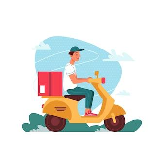 Corriere di consegna su motorino scooter con pacco, consegna ordine espresso