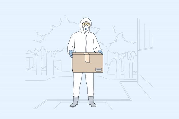 Consegna, quarantena covid19, coronavirus, concetto di infezione.