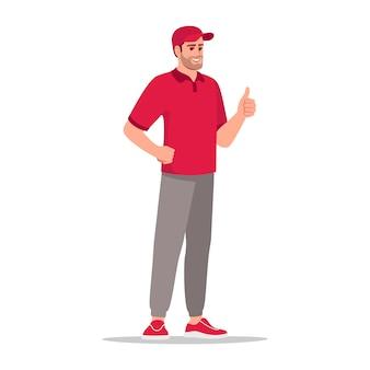 Illustrazione di vettore di colore rgb semi piatto del servizio clienti di consegna. impiegato azienda di corriere. felice lavoratore di sesso maschile. corriere maschio caucasico in uniforme rossa isolato personaggio dei cartoni animati su sfondo bianco