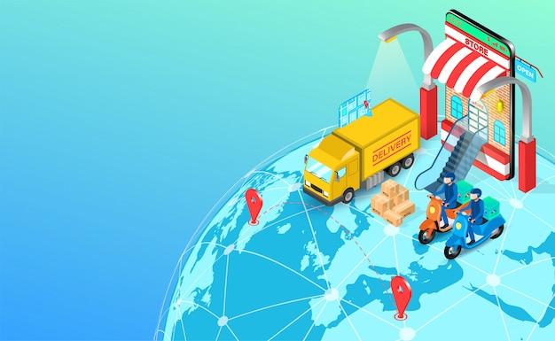 Consegna espressa da scooter e camion su globale con gps mobile. ordine e pacchetto alimentari online nell'e-commerce per applicazione. design piatto isometrico.