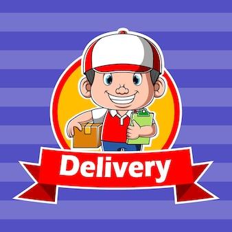 Consegna express logo ispirazione con corriere