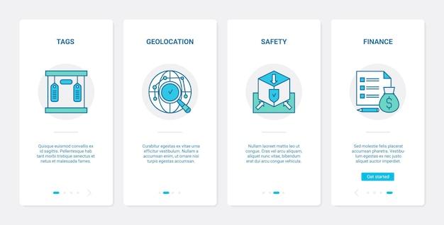 Concetto di linea di sicurezza finanziaria di consegna app mobile di onboarding dell'interfaccia utente ux