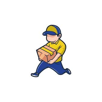 Consegna, cibo, corriere, servizio, affari, ordine, spedizione, pacco, casa, pacco, trasporto, veloce Vettore Premium