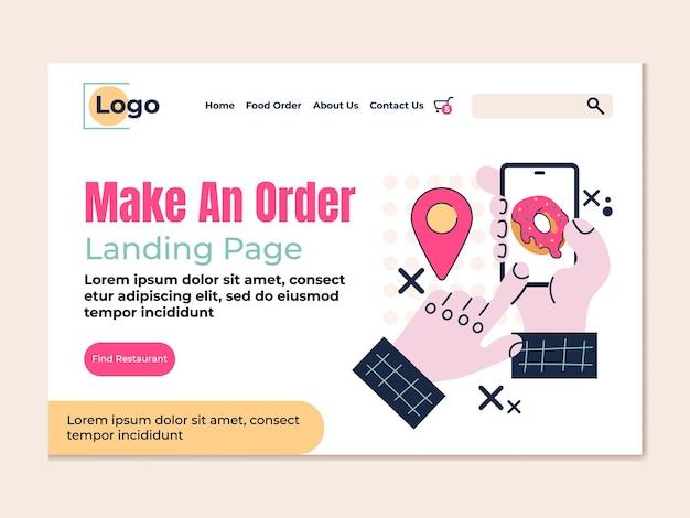 Design piatto per il vettore della pagina di destinazione dell'ordine della spesa alimentare di consegna