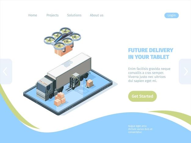 Consegna futura dal concetto isometrico della pagina di destinazione dei droni. servizio moderno di logistica remota merci online gestione della visualizzazione dei risultati tramite tablet invio di corrieri quadricotteri.