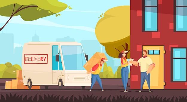 Composizione delle merci di consegna con paesaggio urbano e servizio di spedizione logistico personaggi umani in stile scarabocchio con illustrazione di furgone