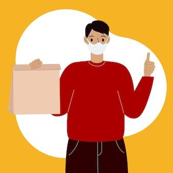 Consegna delle merci durante la prevenzione del virus. corriere con una maschera facciale con una scatola in mano. ritratto dalla vita in su. illustrazione piana di vettore.