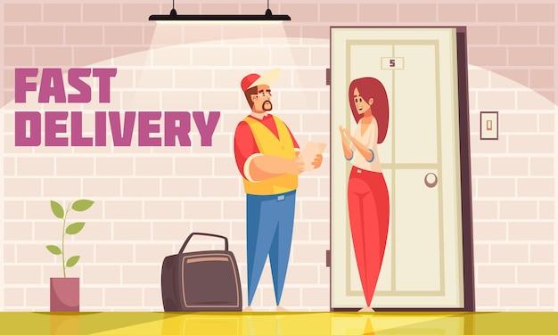 Composizione a domicilio per la consegna con scenari interni e personaggi doodle di corriere logistico maschile e destinatario femminile