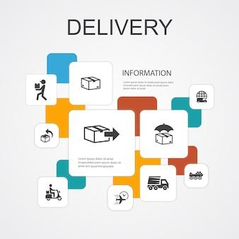 Modello di icone di consegna infografica 10 linee. icone semplici di reso, pacco, corriere, consegna espressa