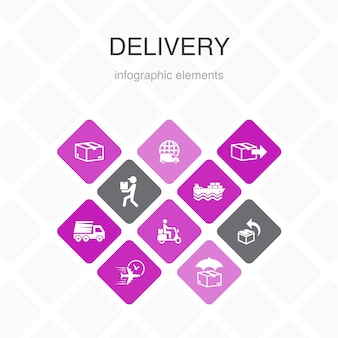 Infografica di consegna 10 opzioni di design a colori. icone semplici di reso, pacco, corriere, consegna espressa