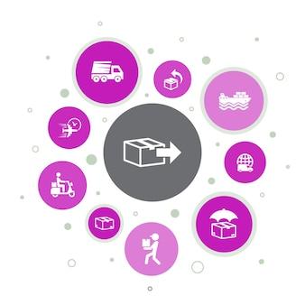 Infografica di consegna 10 passaggi bubble design.return, pacchetto, corriere, icone semplici di consegna espressa