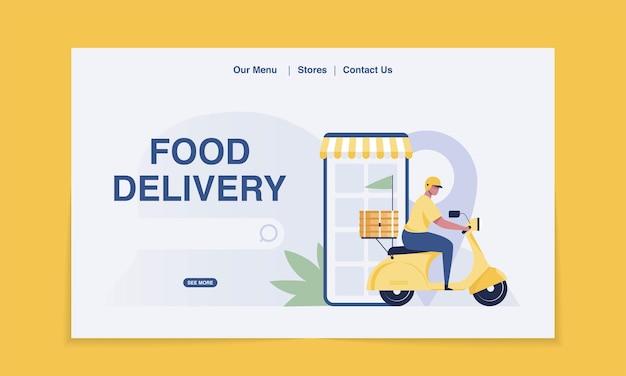 Pagina di destinazione della consegna. cibo consegna in scooter. illustrazione vettoriale