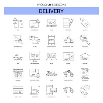 Set di icone di consegna linea - 25 stile contorno tratteggiato