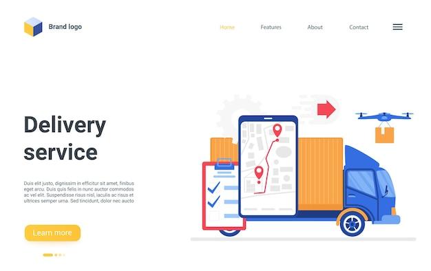 Servizio di localizzazione online della pagina di destinazione del servizio logistico digitale di consegna sulla mappa del telefono.