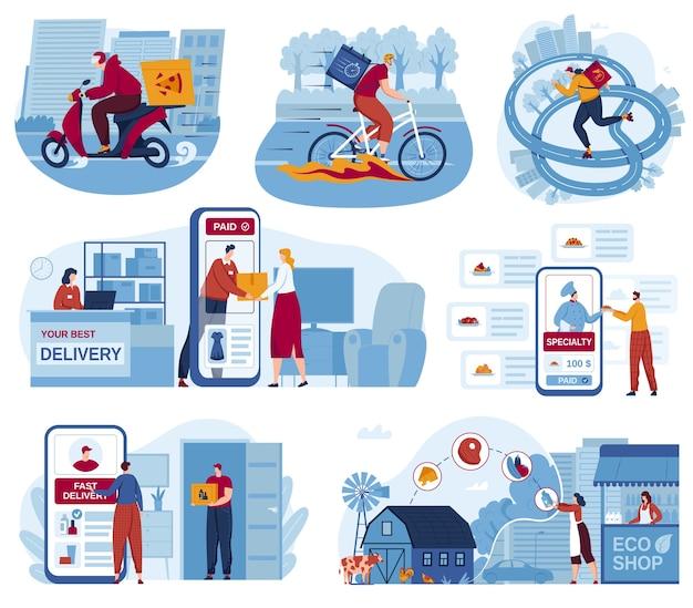 Logistica di consegna per set di illustrazione vettoriale di servizio di ristorazione online, cartone animato camion piatto bicicletta o scooter corriere scatola consegna carattere