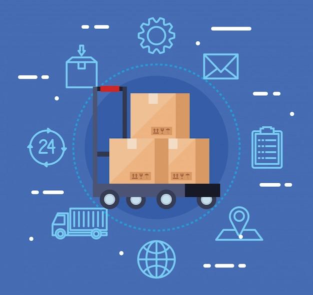 Servizio logistico di consegna con scatole e icone