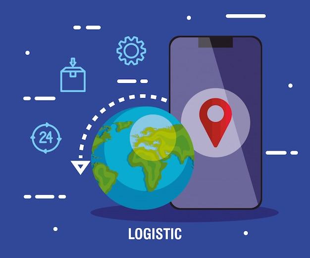 Servizio logistico di consegna con smartphone e icone