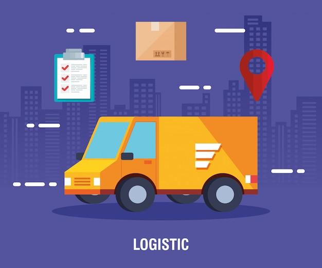 Servizio logistico di consegna con camion e icone