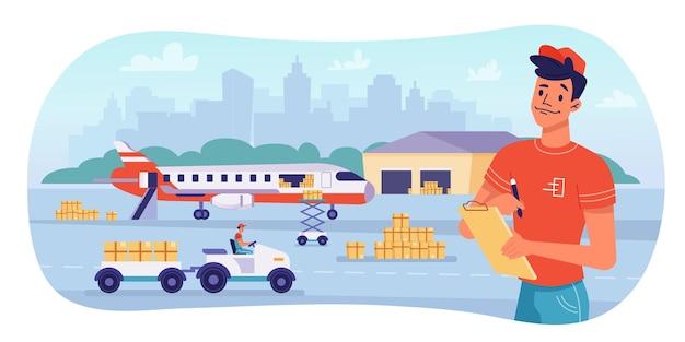 Logistica di consegna tramite spedizione di pacchi in aereo e design piatto vettoriale di magazzino avia consegna cargo