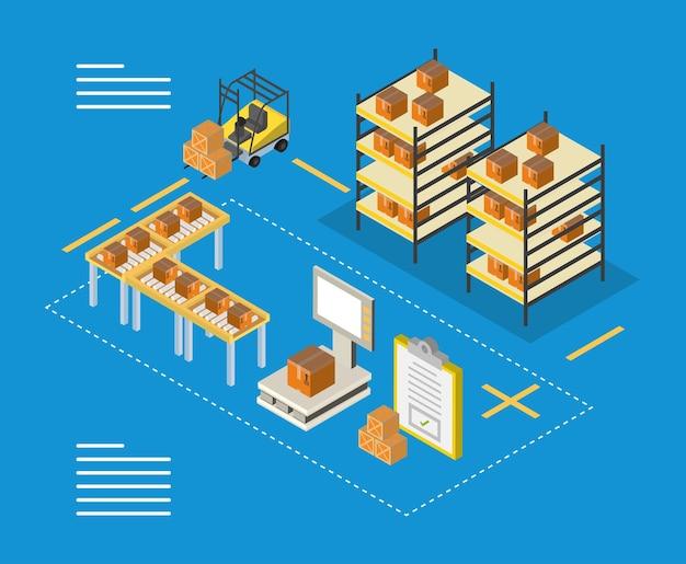Scatole isometriche di consegna e logistica su carrelli elevatori di mobili e design in scala, trasporto, spedizione e tema del servizio